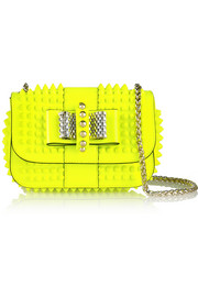 Sweety Charity mini spiked neon patent-leather shoulder bag