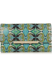 Rougissime leather-paneled printed python clutch