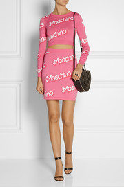 Moschino Cropped intarsia cotton sweater