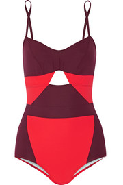 Joellen cutout two-tone swimsuit