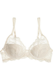 Satin-trimmed stretch-lace push-up bra