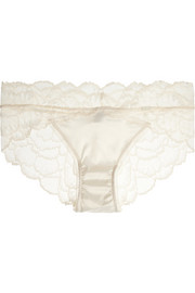 Satin-paneled stretch-lace briefs