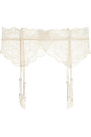 Satin-trimmed stretch-lace suspender belt