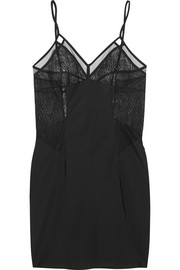 Primal crocheted lace and satin-crepe chemise