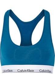 Stretch cotton-blend sports bra