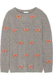 Watermelon-intarsia cashmere sweater