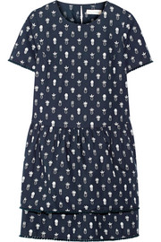 Printed cotton-poplin mini dress