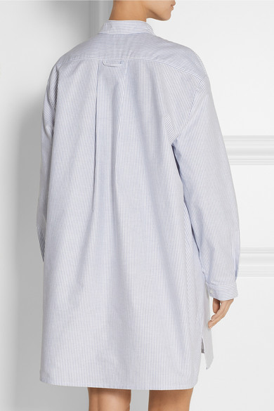 The Sleep Shirt Long Striped Cotton Oxford Nightshirt