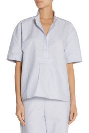The Sleep Shirt Cropped striped cotton Oxford nightshirt