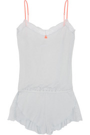 Aubrey lace-trimmed jersey playsuit