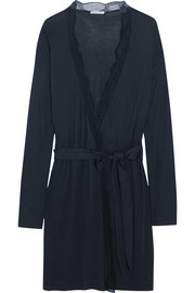 Estelle lace-trimmed jersey robe