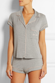 Gisele embroidered stretch-jersey pajama set