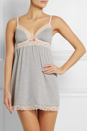 Quinn lace-paneled stretch-jersey chemise