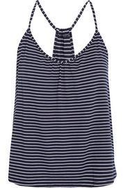 Striped stretch-jersey pajama top