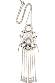 VICKISARGE Adele palladium-plated Swarovski crystal necklace