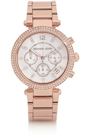 Michael Kors Parker Swarovski crystal-embellished rose gold-tone stainless steel watch