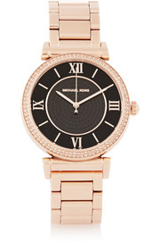 Michael Kors Caitlin crystal-embellished rose gold-tone watch