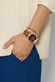 Caitlin crystal-embellished rose gold-tone watch