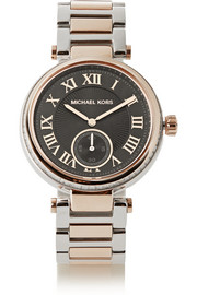 Michael Kors Skylar crystal-embellished two-tone stainless steel watch