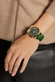 Michael Kors Channing gold-tone and croc-effect leather watch