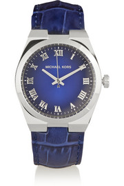 Michael Kors Channing silver-tone and croc-effect leather watch