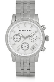 Michael Kors Ritz crystal-embellished stainless steel watch