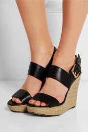 Poesy leather espadrille wedge sandals