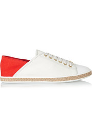 Kristy leather-paneled canvas sneakers