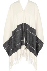Sinadis fringed wool poncho