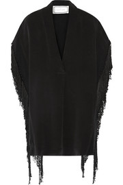 Marinetta fringed silk crepe de chine top