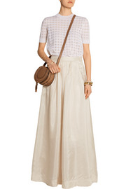 Cudy pleated silk maxi skirt