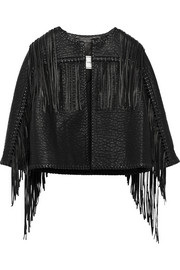Clothilde leather-fringed faux leather jacket