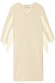 Judoa fringed satin-jersey dress