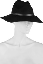 Mihanna leather-trimmed wool-felt fedora