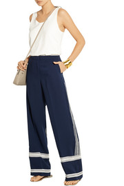 By Malene Birger Irrisa embroidered crepe wide-leg pants