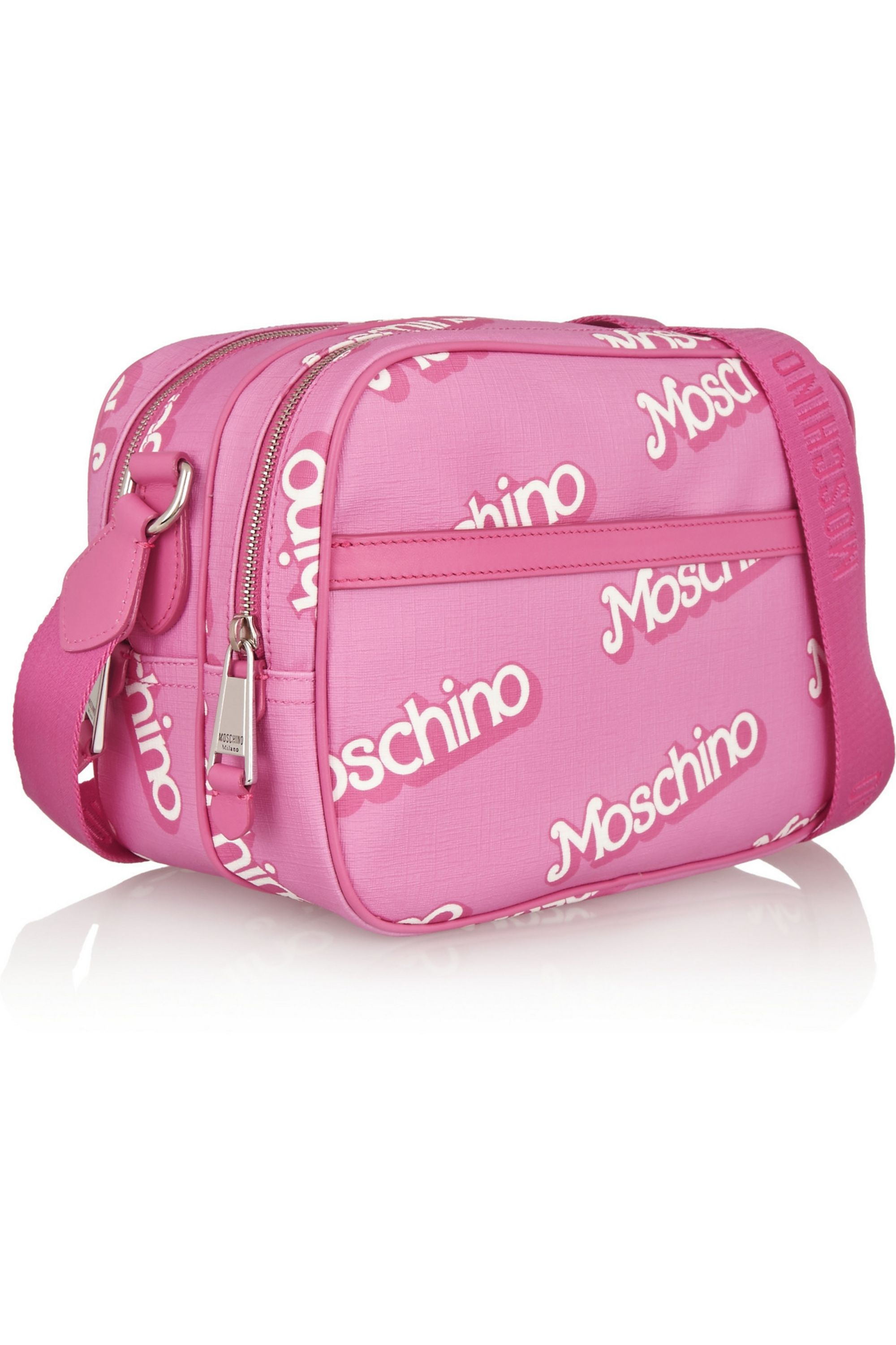 Moschino Printed textured-PVC shoulder bag