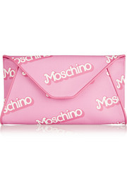Moschino Printed textured-PVC clutch