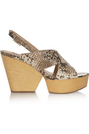 Liberty snake-effect leather wedge sandals