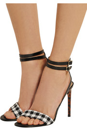 Vera gingham twill and leather sandals
