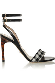 Diane von Furstenberg Vera gingham twill and leather sandals