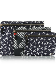 Set of three Voyage printed pouches