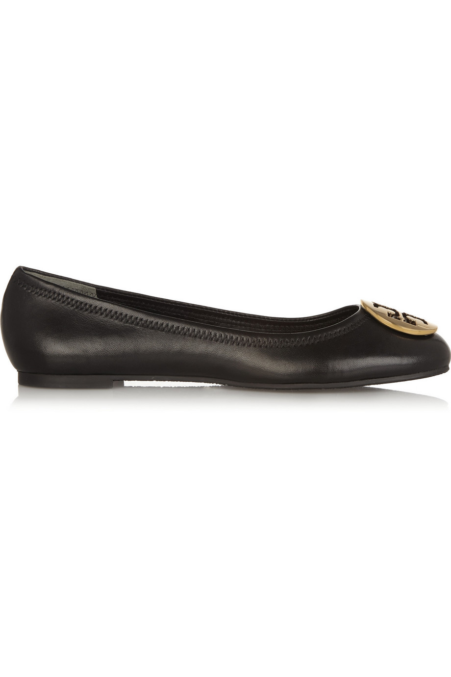 Tory Burch Reva Leather Ballet Flats, Black, Women's, Size: 10.5