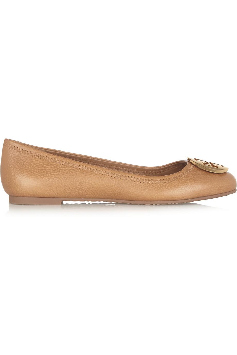 Tory Burch Reva Leather Ballet Flats, Tan, Women's, Size: 11