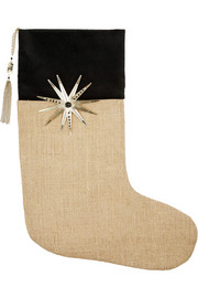 Embellished velvet and jute stocking