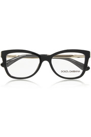 Square-frame acetate and metal optical glasses