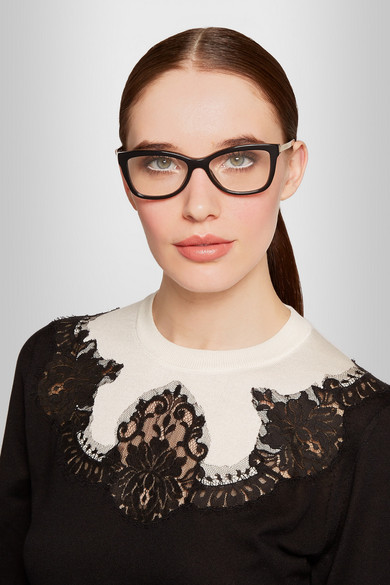 Dolce And Gabbana Thick Frame Glasses : Dolce & Gabbana Square-frame acetate and metal optical ...