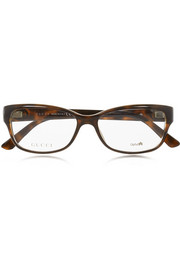 Square-frame tortoiseshell acetate optical glasses