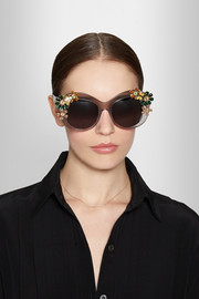 Swarovski crystal-embellished square-frame acetate sunglasses