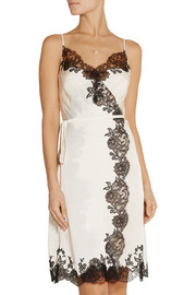 Sonia lace-trimmed silk-satin wrap chemise