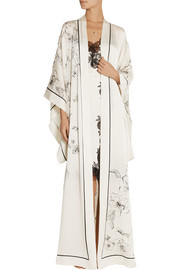 Aurelia printed silk-satin robe
